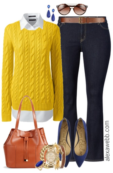 5bab99b1614 Plus Size Yellow Sweater Outfit - Plus Size Fashion for Women - alexawebb. com