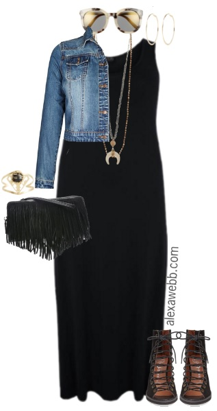 e947395f554a6 Plus Size Black Maxi Dress Outfit - Plus Size Spring Outfit - Plus Size  Fashion for