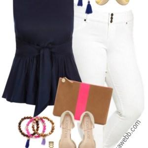 Plus Size Navy & White Outfit - Plus Size Fashion for Women - alexawebb.com #alexawebb