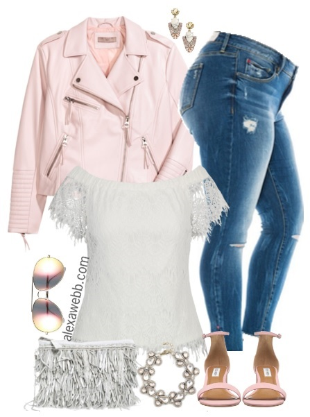 Plus Size Blush Biker Jacket Outfit - Plus Size Spring Summer Outfit - Plus Size Fashion for Women - alexawebb.com #alexawebb