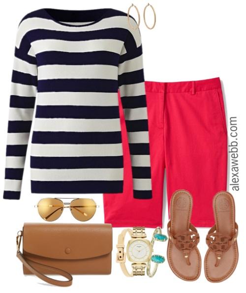 Plus Size Coral Shorts U0026 Stripes Outfit