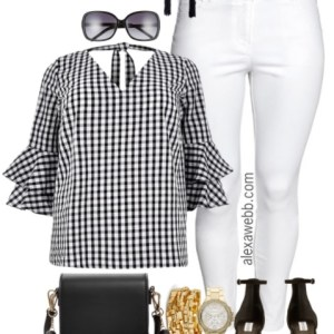 Plus Size Gingham Top Outfit - Plus Size Summer Outfit - Plus Size White Jeans - Plus Size Fashion for Women - alexawebb.com