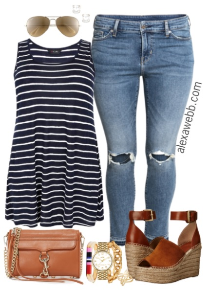 Plus Size Navy Striped Tank Outfit - Plus Size Fashion for Women - alexawebb.com #alexawebb
