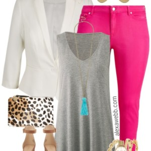 Plus Size Hot Pink Jeans Outfit - Plus Size Fashion for Women - alexawebb.com #alexawebb