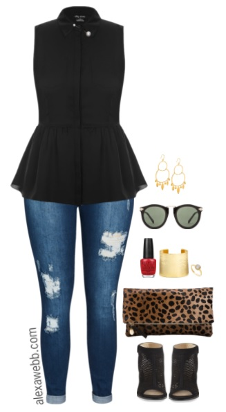 Plus Size Peplum Top Outfit - Plus Size Fashion for Women - alexawebb.com #alexawebb