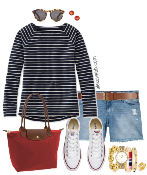 Plus Size Striped Sweatshirt Outfit - Plus Size Casual Outfit - Plus Size Fashion for Women - alexawebb.com #alexawebb