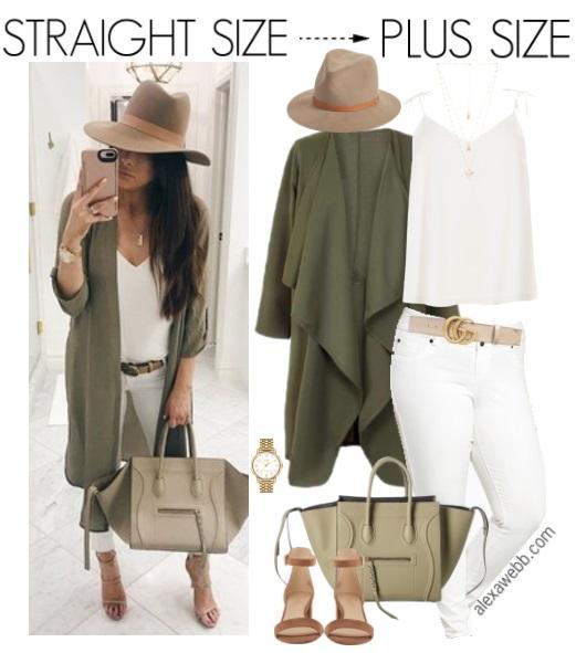 Straight Size to Plus Size – Khaki Jacket Outfit - Plus Size Fashion for Women - alexawebb.com #alexawebb