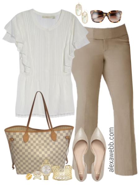 Plus Size Beige Work Pants Outfits - Alexa Webb