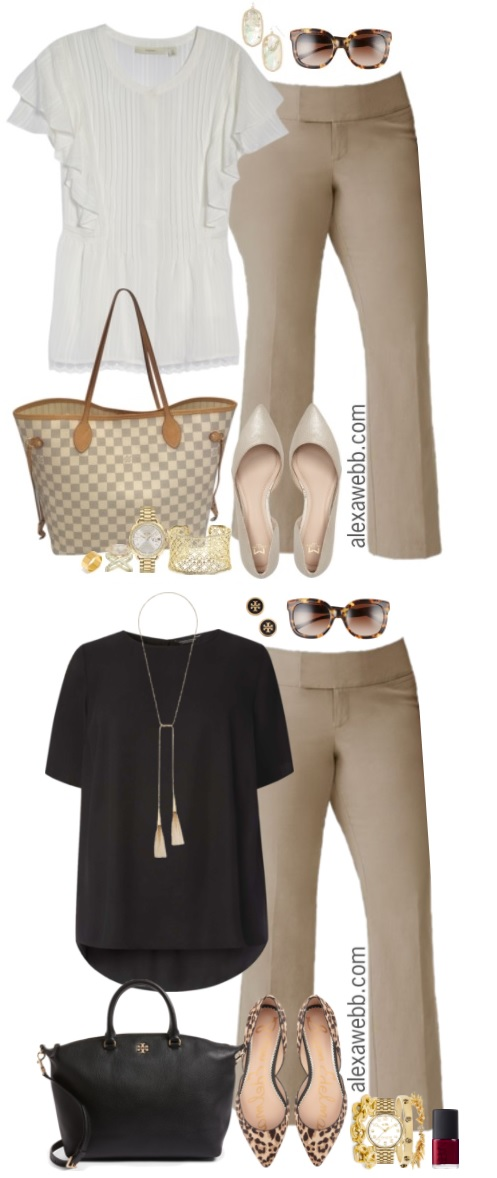 Plus Size Beige Work Pants Outfits - Alexa Webb