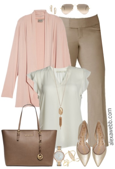 Plus Size Beige Work Pants Outfits - Plus Size Work Outfit - Plus Size Fashion for Women - alexawebb.com