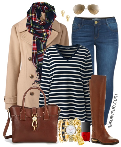 Plus Size Stripe Tee Outfit - Plus Size Fall Casual Outfit - Plus Size Fashion for Women - alexawebb.com #alexawebb #fall #plussize #casual #outfit #ootd