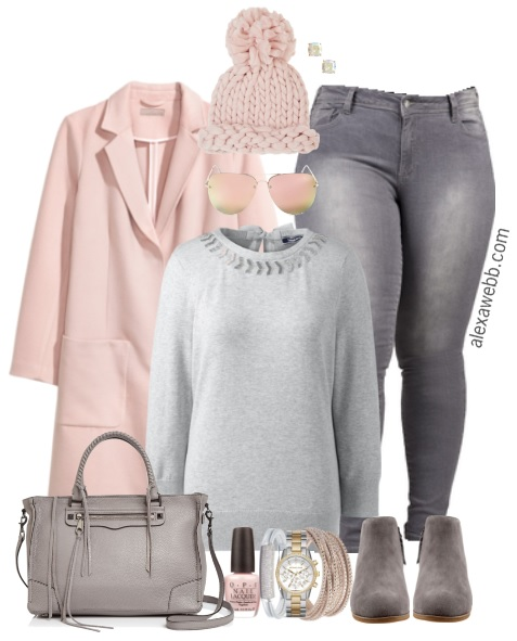 Plus Size Grey Jeans Outfit - Plus Size Fashion for Women - alexawebb.com #plussize #alexawebb #winter #outfit