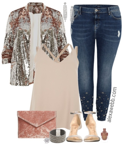 Plus Size Sequin Blazer Outfit - Plus Size New Years Outfit Idea - Plus Size Fashion for Women #plussize #dressedup #nye #outfit #alexawebb