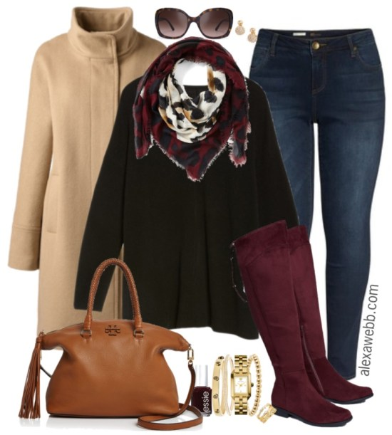 ea1f8ee406a1a Plus Size Oxblood Boots Outfit - Alexa Webb