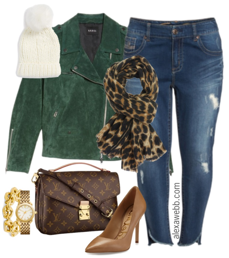 64c72a83325 Plus Size Green Suede Jacket Outfit - Alexa Webb