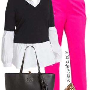 Plus Size Pink Trousers Outfit - Plus Size Work Outfit Idea - Plus Size Fashion for Women - alexawebb.com #alexawebb