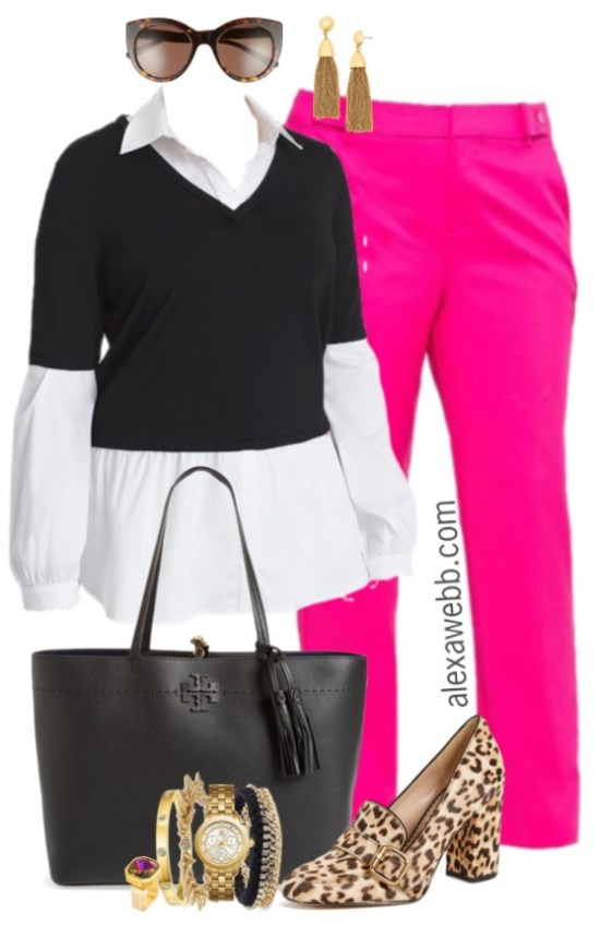 4fc012b6abc Plus Size Pink Trousers Outfit - Plus Size Work Outfit Idea - Plus Size  Fashion for