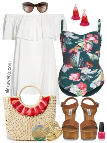 Plus Size Tropical Swimsuit Outfit - Plus Size Fashion for Women - Plus Size Swimwear - alexawebb.com #alexawebb