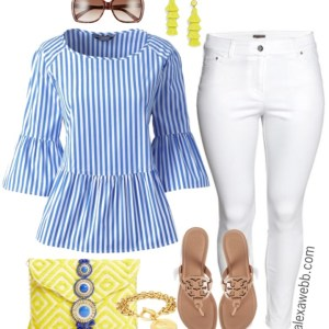 Plus Size Striped Peplum Top Outfit - Plus Size Spring Outfit Idea - Plus Size Fashion for Women - alexawebb.com #alexawebb