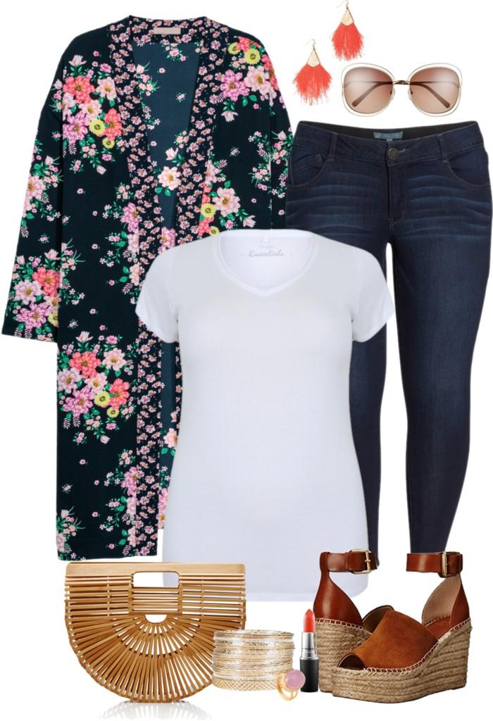 Plus Size Floral Kimono Outfit Alexa Webb