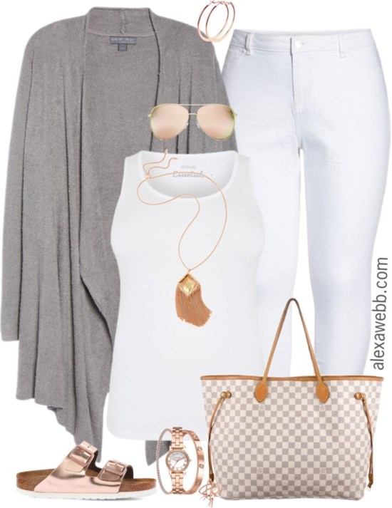 Plus Size Spring Grey Cardigan Outfit - Plus Size Spring Outfit Idea - Plus Size Fashion for Women - alexawebb.com #alexawebb