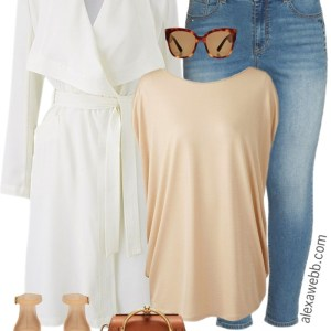 Plus Size White Trench Coat Outfit - Plus Size Spring Outfit Idea - Plus Size Fashion for Women - alexawebb.com #alexawebb