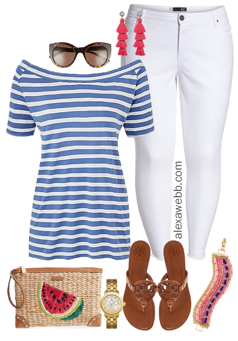 Plus Size Summer White Jeans Outfit - Plus Size Fashion for Women - alexawebb.com #alexawebb #plussize