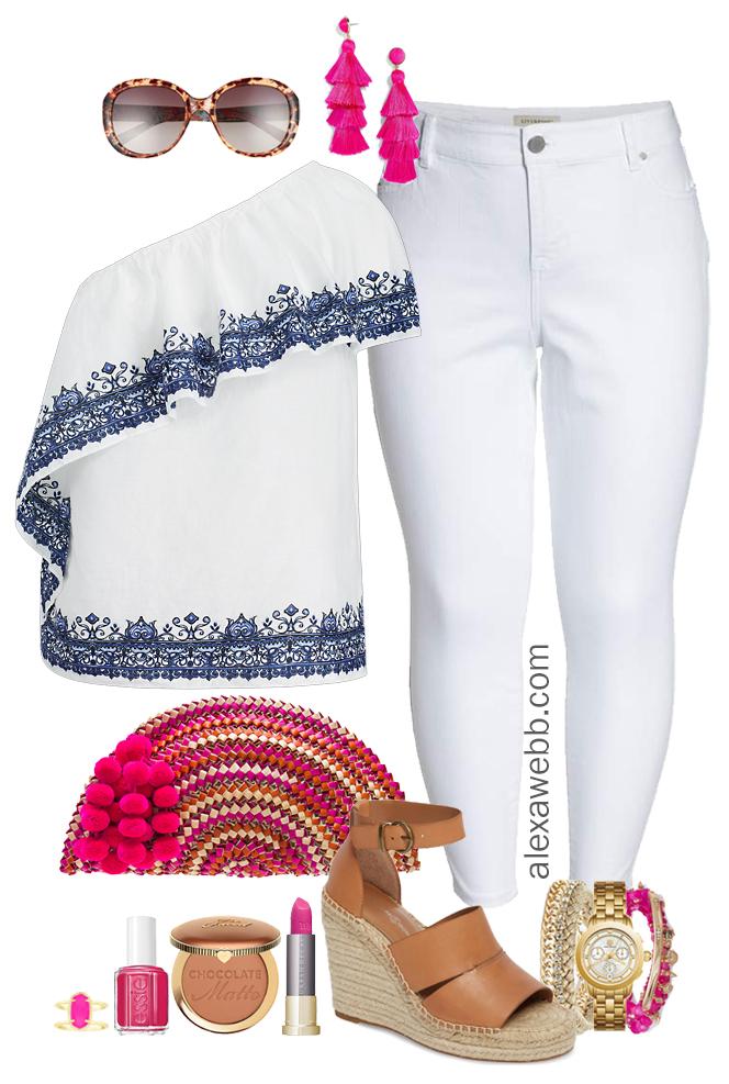 36d6f0d82 Plus Size White Jeans Outfit - Alexa Webb