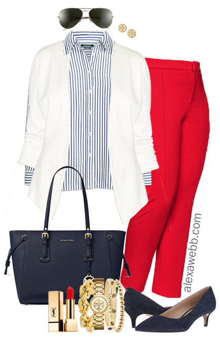 Plus Size Red Pants Work Outfit - Plus Size Fashion for Women - alexawebb.com #alexawebb #plussize