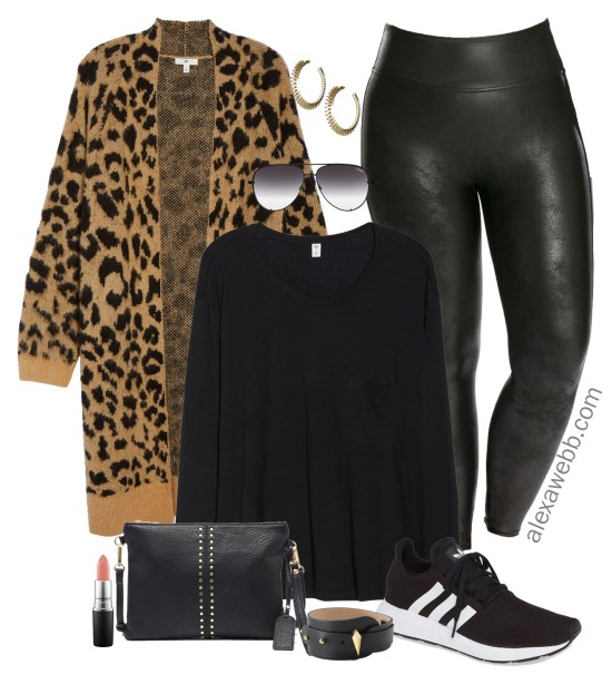 Plus Size Leopard Cardigan Outfit Ideas - Plus Size Leather Leggings - Plus Size Fall Outfits - Plus Size Fashion for Women - alexawebb.com #alexawebb #plussize
