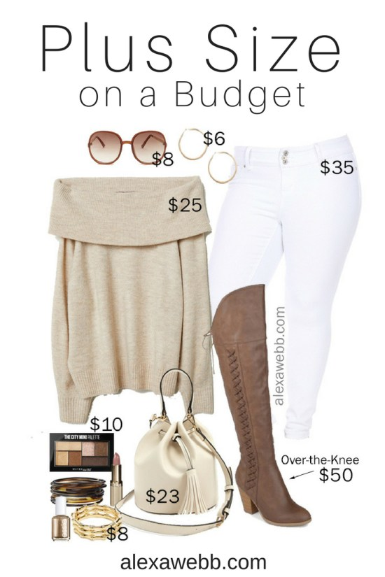 Plus Size on a Budget - Off-the-Shoulder Sweater Outfit - Plus Size Fall Winter Outfit Idea - Wide Calf Boots - Plus Size Fashion for Women - alexawebb.com #plussize #alexawebb