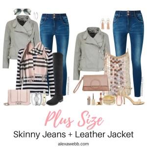 Plus Size Skinny Jeans and Grey Leather Jacket - Plus Size Fall Outfit Ideas - Plus Size Fashion for Women - alexawebb.com #alexawebb #plussize