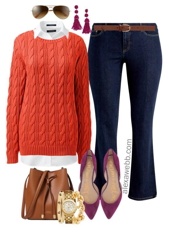 Plus Size Bright Sweater Outfit Ideas - Plus Size Orange Sweater Outfit - Plus Size Fall and Winter Outfits - Plus Size Fashion for Women - alexawebb.com #alexawebb #plussize
