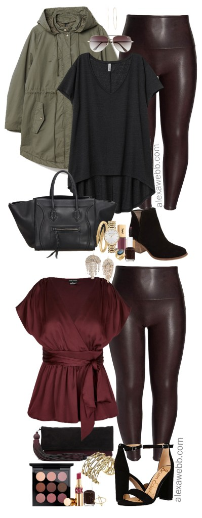 Plus Size Faux Leather Leggings Outfit - Plus Size Wine Oxblood Leather Leggings - Plus Size Fashion for Women - alexawebb.com #plussize #alexawebb
