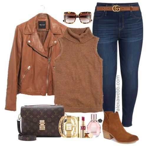 Plus Size Leather Jacket Fall Outfit - Plus Size Fall Winter Outfit Idea - Plus Size Fashion for Women - alexawebb.com #plussize #alexawebb