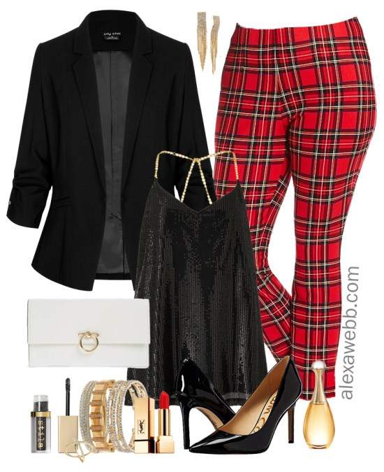 Plus Size Plaid Pants Outfit Ideas - Plus Size Fall Winter Outfit Ideas - Plus Size Fashion for Women - alexawebb.com #plussize #alexawebb
