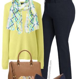 Plus Size Yellow Sweater Work Outfit - Plus Size Navy Pants Work Outfit Idea - Plus Size Fashion for Women - alexawebb.com #plussize #alexawebb
