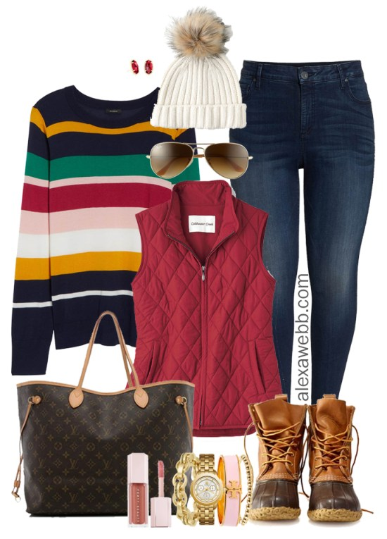 Plus Size Striped Sweater Outfit Ideas - Plus Size Winter Outfits - Plus Size Fashion for Women - alexawebb.com #plussize #alexawebb