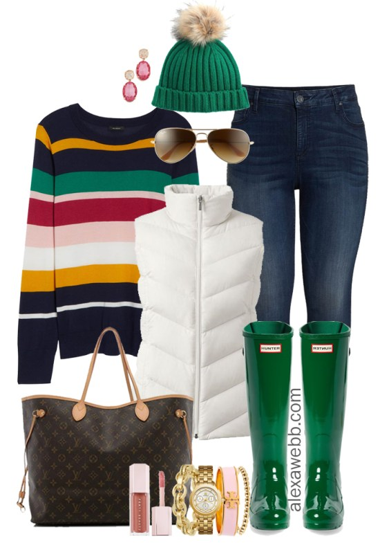 Plus Size Striped Sweater Outfit Ideas - Plus Size Winter Outfits - Plus Size Fashion for Women - Wide Calf Hunter Boots - alexawebb.com #plussize #alexawebb