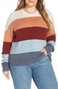 Plus Size Winter Work Outfit - Plus Size Stripe Sweater Outfit Idea - Plus Size Fashion for Women - alexawebb.com #plussize #alexawebb
