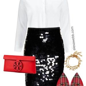 Plus Size Black Sequin Skirt Outfits - Plus Size Holiday Party Outfits - Plus Size Christmas Party Outfits - Plus Size Fashion for Women - alexawebb.com #plussize #alexawebb