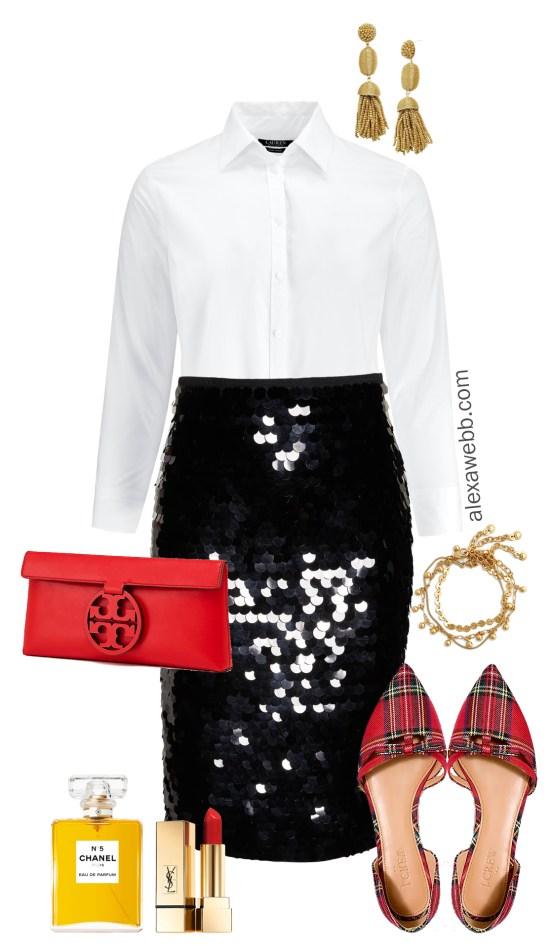 98a5b06e1c30a Plus Size Black Sequin Skirt Outfits - Plus Size Holiday Party Outfits - Plus  Size Christmas