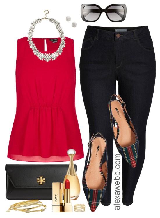 Plus Size Christmas Outfit - Plus Size Red Blouse, Jeans, Plaid Flats - Plus Size Fashion for Women - alexawebb.com #plussize #alexawebb