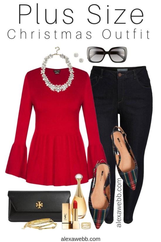 Plus Size Christmas Outfit - Plus Size Red Sweater, Jeans, Plaid Flats - Plus Size Fashion for Women - alexawebb.com #plussize #alexawebb
