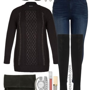 Plus Size Holiday Sweater Outfits - Plus Size Over-the-Knee Boots Outfit Ideas - Plus Size Fashion for Women - alexawebb.com #plussize #alexawebb
