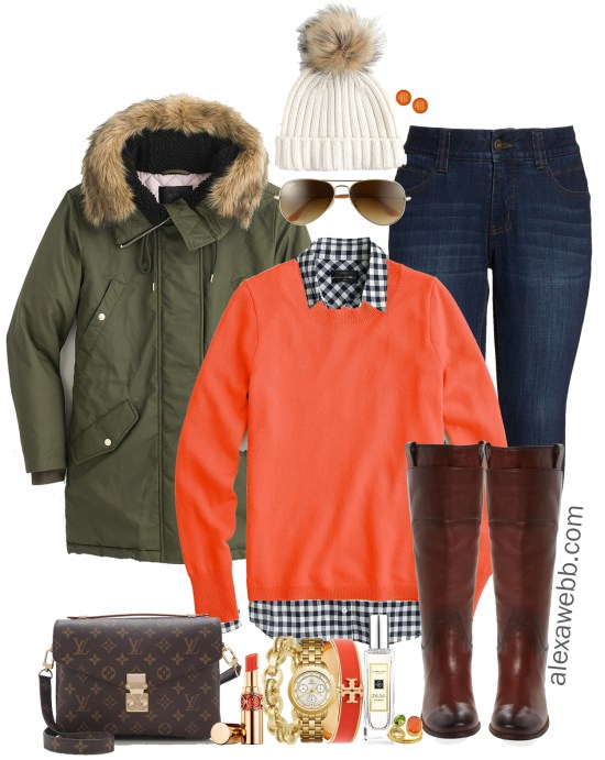 Plus Size Orange Sweater Outfit - Plus Size Winter Outfit Idea - Wide Calf Boots - Plus Size Fashion for Women - alexawebb.com #plussize #alexawebb