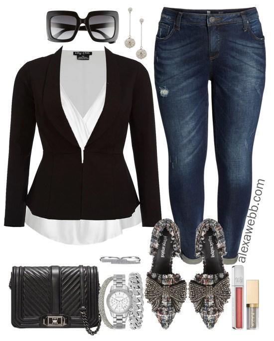 Plus Size Thanksgiving Outfits – Peplum Blazer and Boyfriend Jeans - Plus Size Fashion for Women - alexawebb.com #plussize #alexawebb