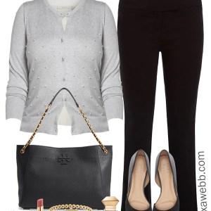 Plus Size Pearl Cardigan Work Outfit - Plus Size Workwear - Plus Size Fashion for Women - alexawebb.com #alexawebb #plussize