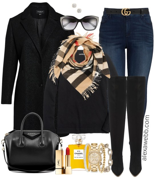 Plus Size Casual Winter Outfit - Plus Size Skinny Jeans and Wide Calf Over the Knee Boots - Plus Size Fashion for Women - alexawebb.com #plussize #alexawebb