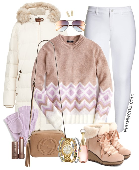 Plus Size Fair Isle Sweater Outfit - Plus Size Winter Outfit - Plus Size White Parka, White Jeans, Nordic Boots - Plus Size Fashion for Women - alexawebb.com #plussize #alexawebb